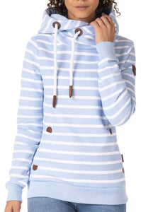 Wanakome hoodie pastel blue white stripe, front pouch pocket