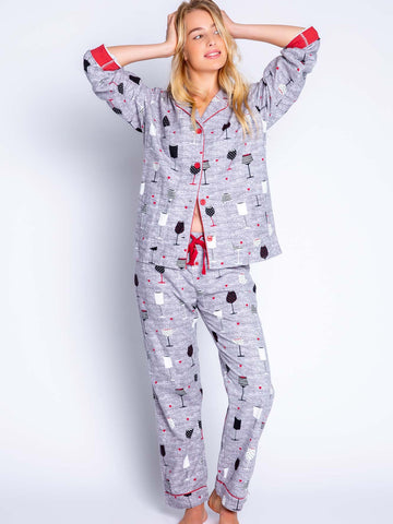 FLANNEL WINE PJ SET
