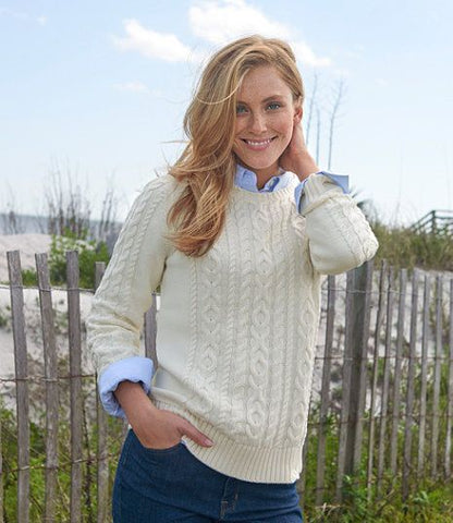 DOUBLE MIXED CABLE SWEATER