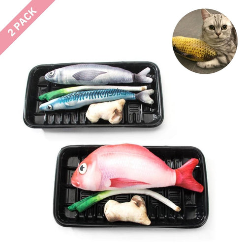 ViviCat Selected | Fishy Fish Catnip Toy Set of 2 Lunch Trays