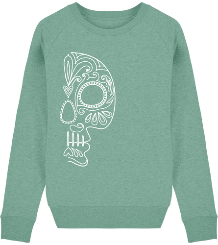 FOLQ Green Sweatshirt White Folklore Skull