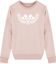 Load image into Gallery viewer, FOLQ Pink Sweatshirt White Folklore Birds inspired by Scandinavian Folklore