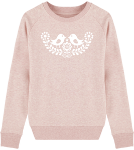 FOLQ Pink Sweatshirt White Folklore Birds inspired by Scandinavian Folklore