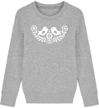 Load image into Gallery viewer, FOLQ Kids' Grey Sweatshirt White Birds inspired by Scandinavian folklore