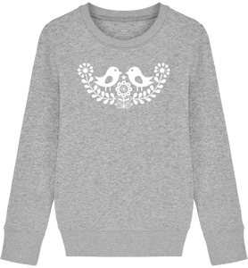 FOLQ Kids' Grey Sweatshirt White Birds inspired by Scandinavian folklore