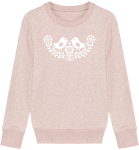 FOLQ Kids' Pink Sweatshirt White Folklore Birds