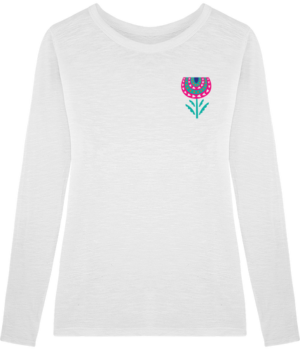 FOLQ Fantasy Peony T-Shirt Long Sleeve White