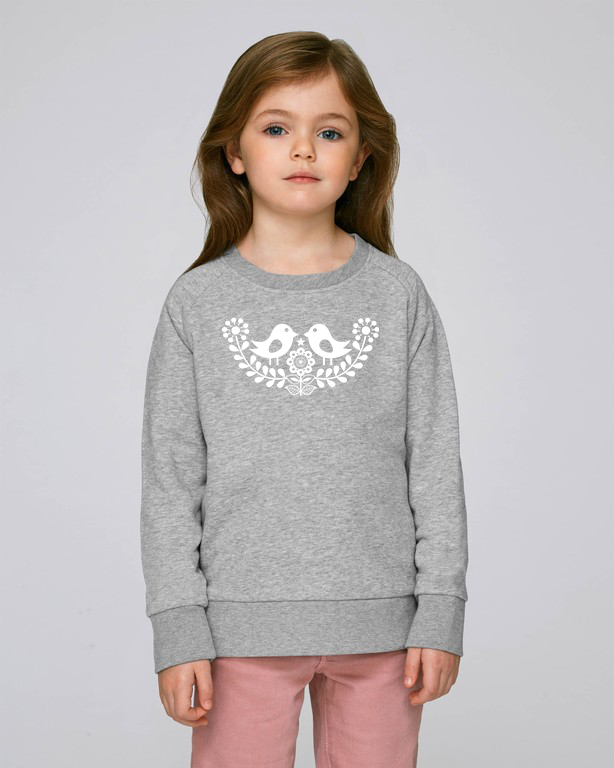 FOLQ Kids' Grey Sweatshirt White Folklore Birds