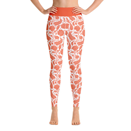 Perfect Yoga Leggings Paisley Orange