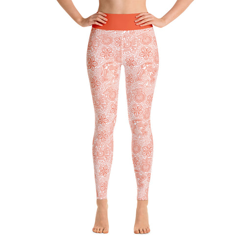 FOLQ Perfect Yoga Leggings Mexican Bird Orange
