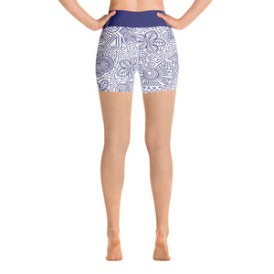 Yoga Short Leggings Mexican Bird Cobalt Blue