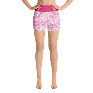 FOLQ Yoga Short Leggings Mexican Bird Fuchsia