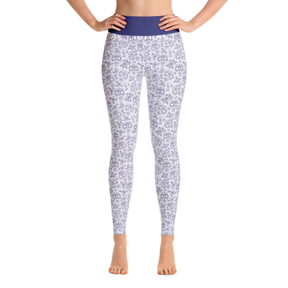 FOLQ Perfect Yoga Leggings Skull Cobalt Blue
