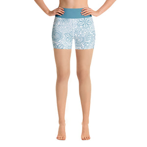 FOLQ Yoga Short Leggings Mexican Bird Turquoise