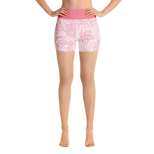 Yoga Short Leggings Mexican Bird Pink