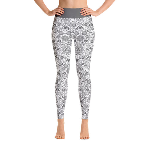Perfect Yoga Leggings Floral Grey