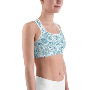 Sports Bra Floral Turquoise