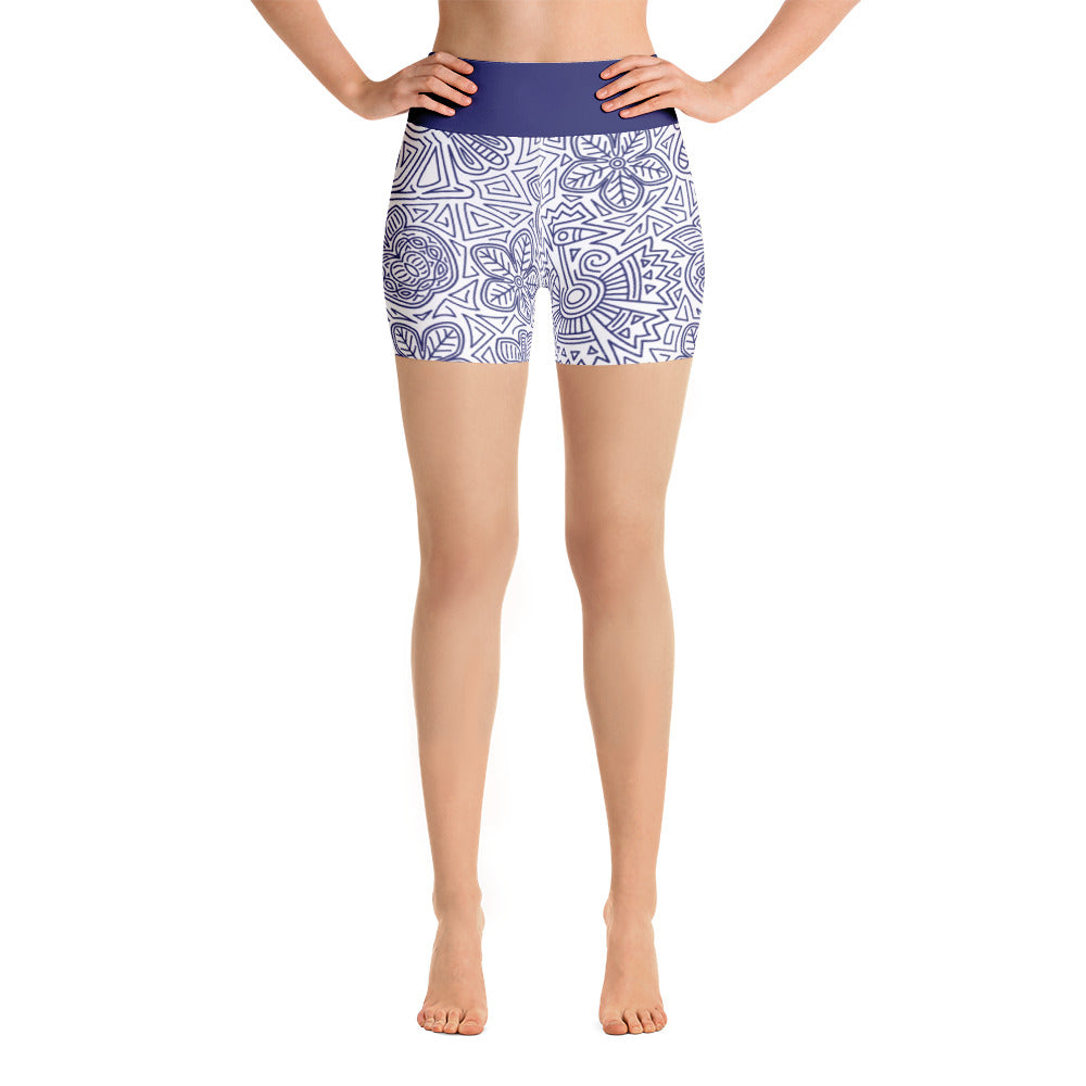 FOLQ Yoga Short Leggings Mexican Bird Cobalt Blue