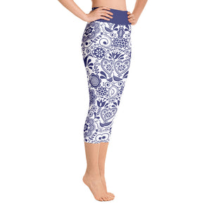 Yoga Capri Leggings Floral Cobalt Blue