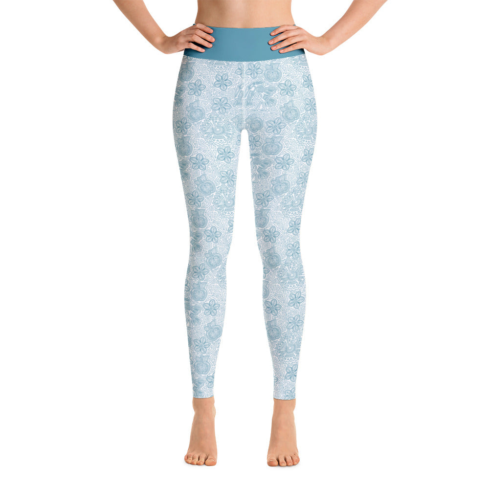 FOLQ Perfect Yoga Leggings Mexican Bird Turquoise