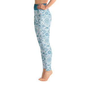 FOLQ Perfect Yoga Leggings Floral Turquoise