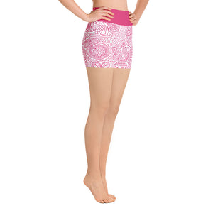 Yoga Short Leggings Mexican Bird Fuchsia