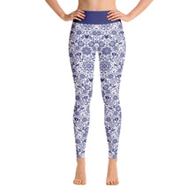Load image into Gallery viewer, Perfect Yoga Leggings Floral Cobalt Blue