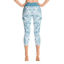 Load image into Gallery viewer, Yoga Capri Leggings Floral Turquoise
