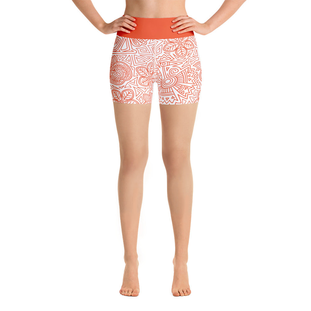 FOLQ Yoga Short Leggings Mexican Bird Orange