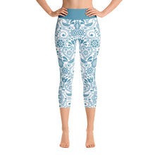 Load image into Gallery viewer, FOLQ Yoga Capri Leggings Floral Turquoise