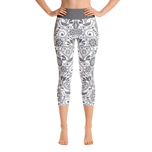 FOLQ Yoga Capri Leggings Floral Grey