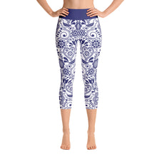 Load image into Gallery viewer, FOLQ Yoga Capri Leggings Floral Cobalt Blue