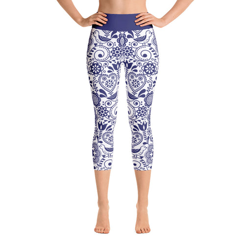 FOLQ Yoga Capri Leggings Floral Cobalt Blue