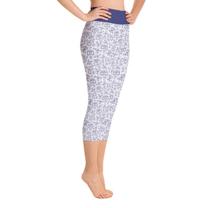 Yoga Capri Leggings Skull Cobalt Blue