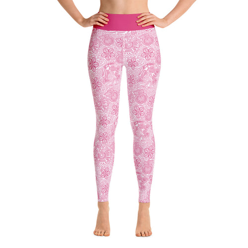 FOLQ Perfect Yoga Leggings Mexican Bird Fuchsia