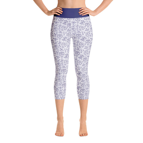 FOLQ Yoga Capri Leggings Skull Cobalt Blue