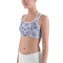 Load image into Gallery viewer, Sports Bra Floral Cobalt Blue