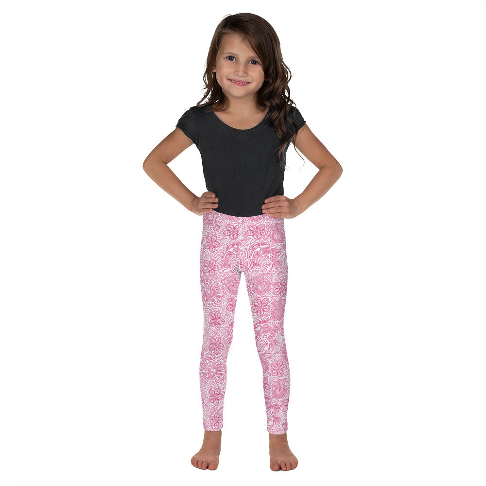 FOLQ Kids' Leggings Mexican Bird Fuchsia