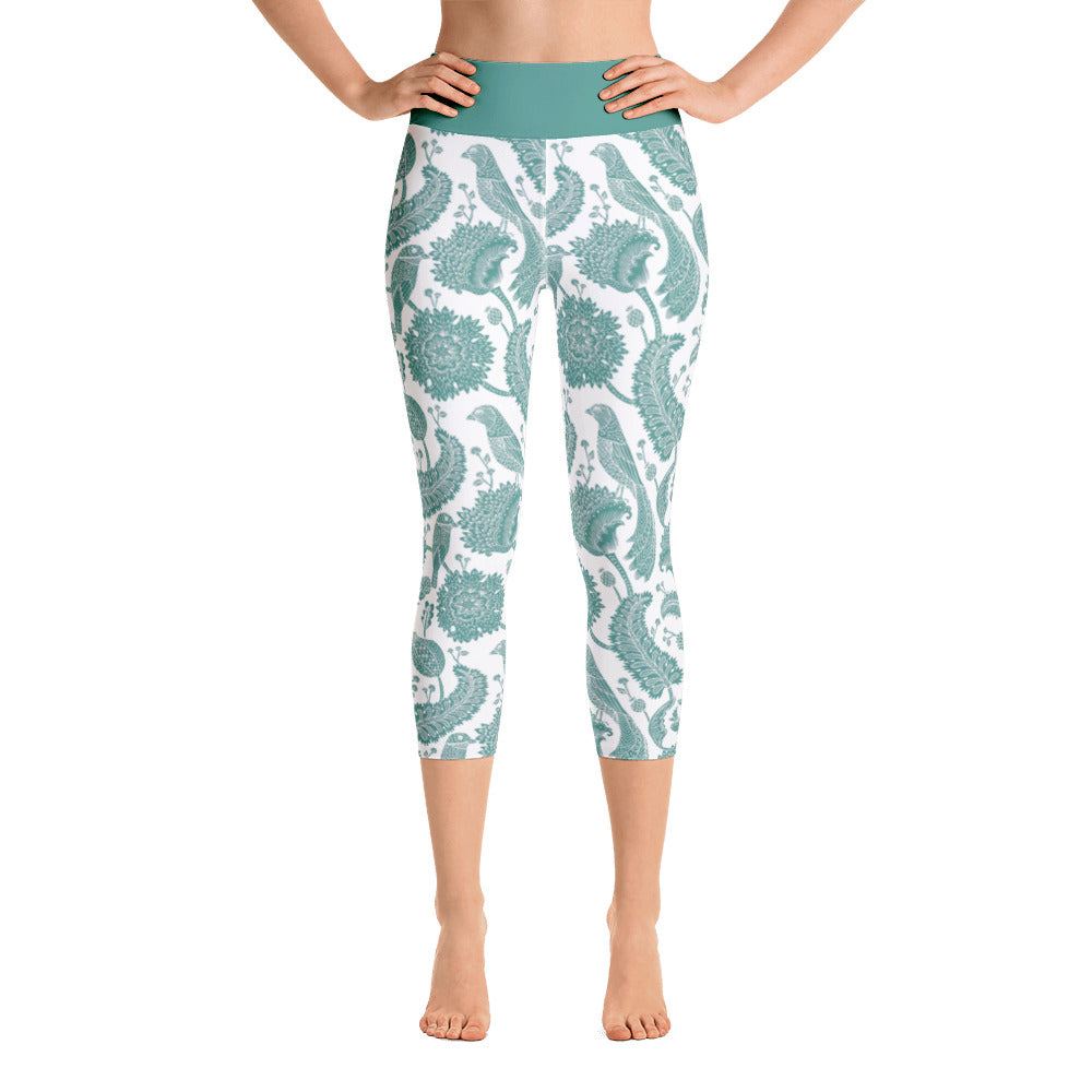 Yoga Capri Leggings Paisley Emerald