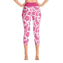 Load image into Gallery viewer, Yoga Capri Leggings Paisley Fuchsia