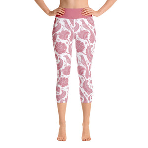 Yoga Capri Leggings Paisley Pink