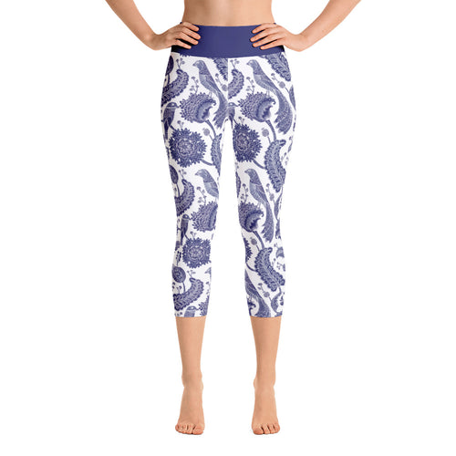 Yoga Capri Leggings Paisley Cobalt Blue