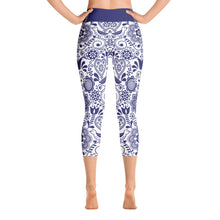 Load image into Gallery viewer, Yoga Capri Leggings Floral Cobalt Blue
