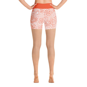 Yoga Short Leggings Mexican Bird Orange