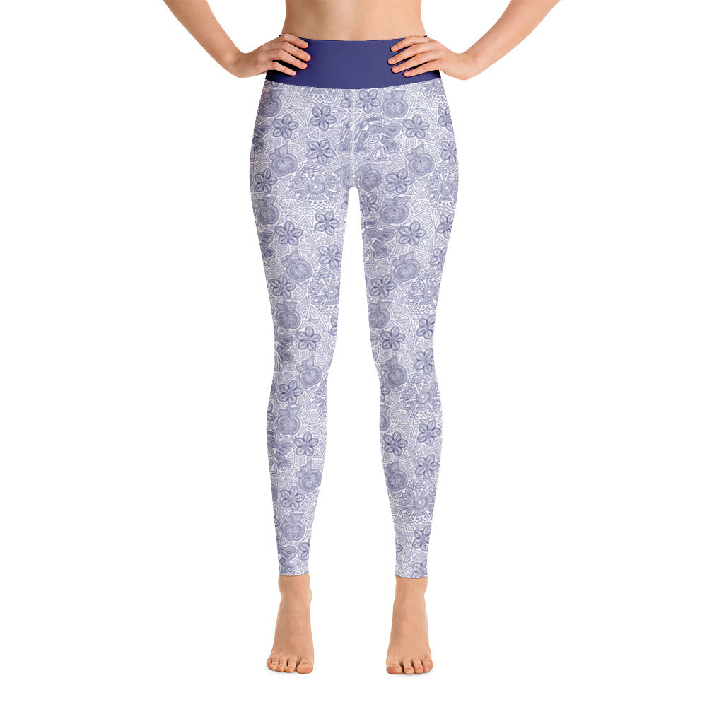 FOLQ Perfect Yoga Leggings Mexican Bird Cobalt Blue