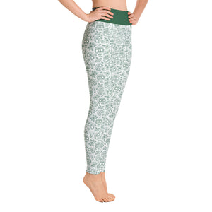FOLQ Perfect Yoga Leggings Skull Forest Green