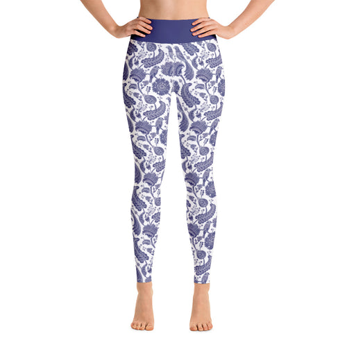 Perfect Yoga Leggings Paisley Cobalt Blue