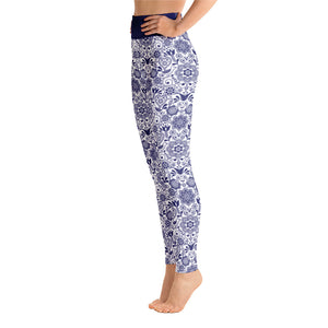 Perfect Yoga Leggings Floral Cobalt Blue