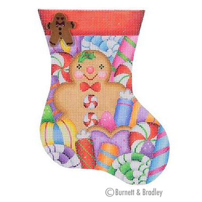 BB 0318 - Mini Stocking - Gingerbread Man & Candy Red Cuff