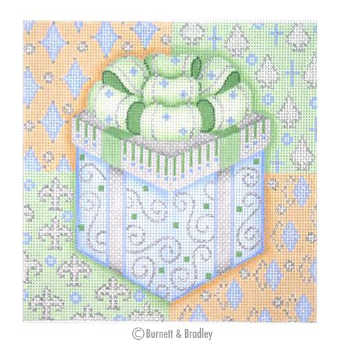 BB 0388 - Christmas Pillow - Package on Patterned Background